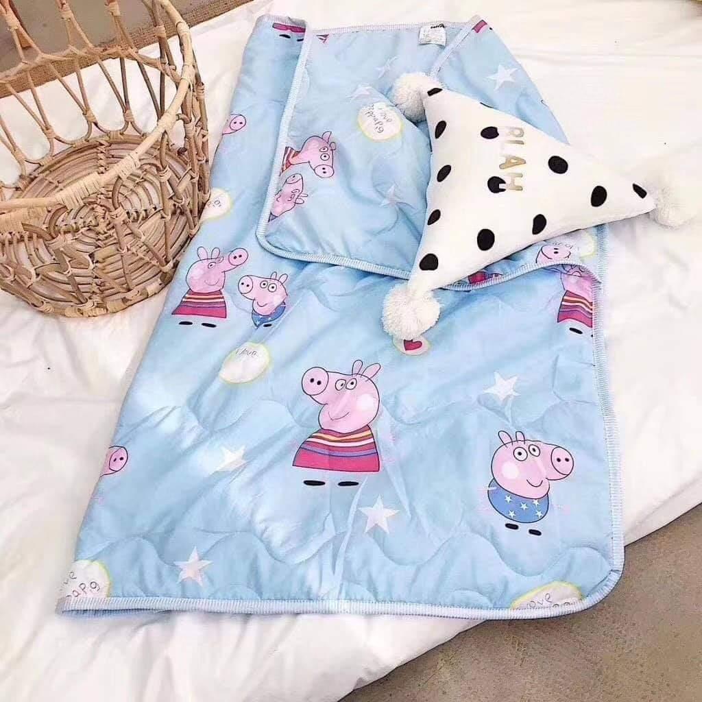 ผ้าห่มเด็กสีฟ้าหมู